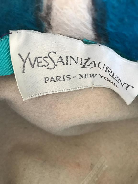 Rare 1960s YSL Yves Saint Laurent Color BLock Abstract Print Vintage 60s Hat  10