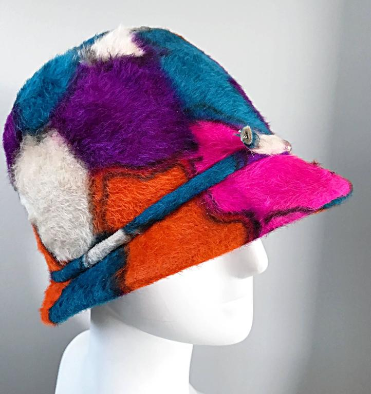 Yves Saint Laurent YSL Color Block Abstract Print Vintage Hat, 1960s  In Excellent Condition For Sale In San Francisco, CA