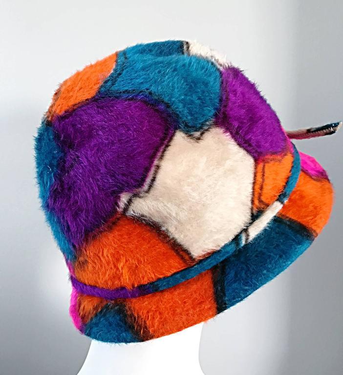 Women's Yves Saint Laurent YSL Color Block Abstract Print Vintage Hat, 1960s  For Sale