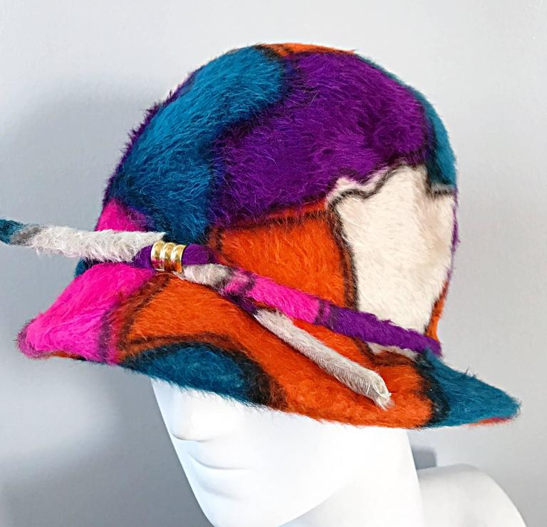 Rare 1960s YSL Yves Saint Laurent Color BLock Abstract Print Vintage 60s Hat  7