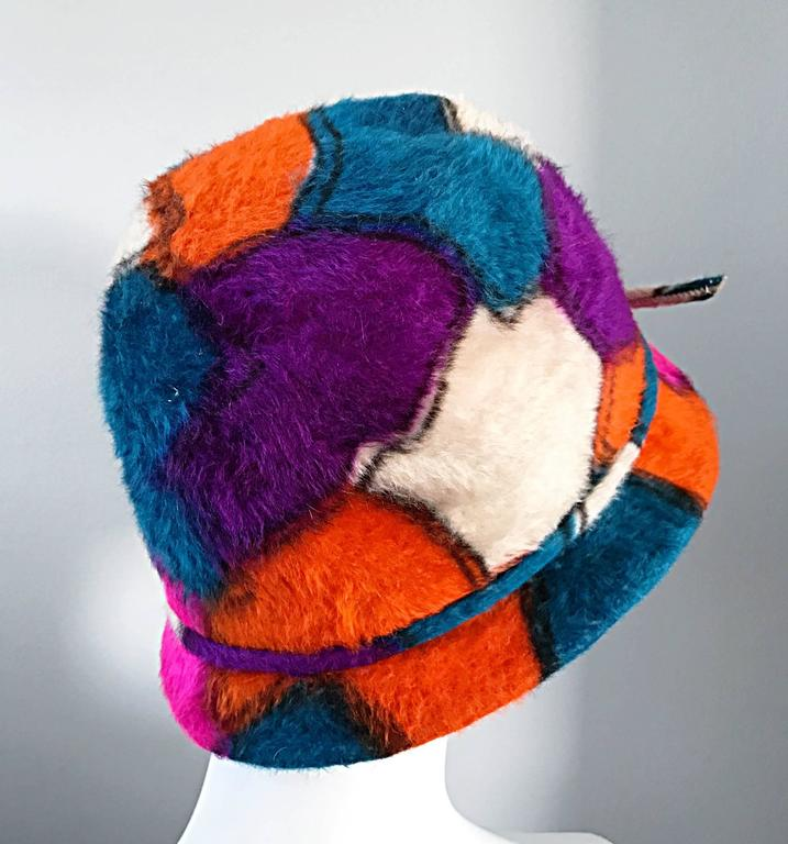 Yves Saint Laurent YSL Color Block Abstract Print Vintage Hat, 1960s  For Sale 1
