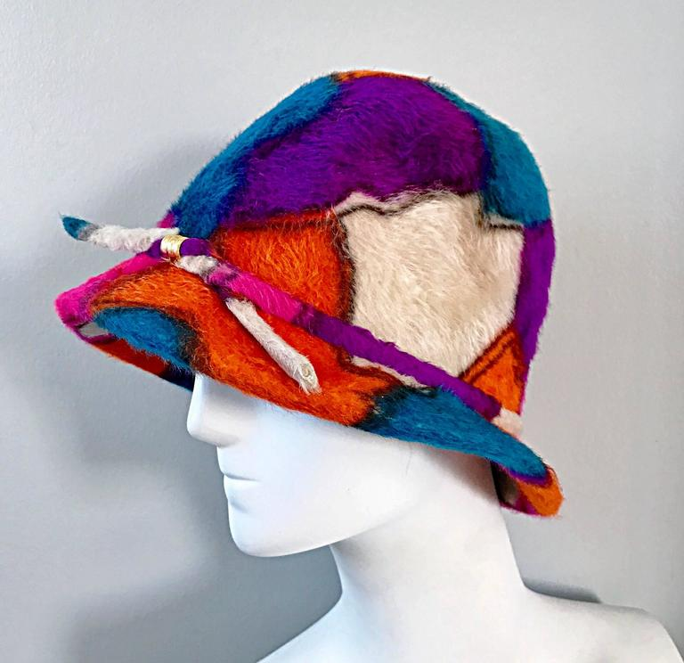 Rare 1960s YSL Yves Saint Laurent Color BLock Abstract Print Vintage 60s Hat  9