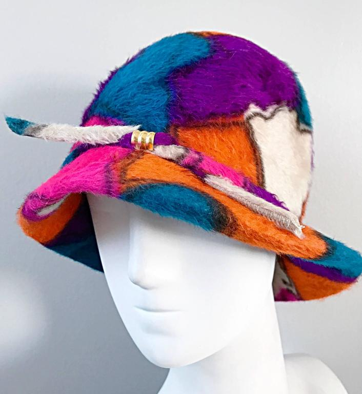 Rare 1960s YSL Yves Saint Laurent Color BLock Abstract Print Vintage 60s Hat  8