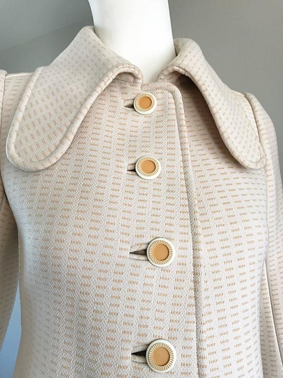 1960s Courreges Haute Couture Rare Vintage Ivory Orange Mod Wool 60s Jacket Coat 2