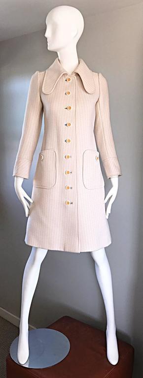 1960s Courreges Haute Couture Rare Vintage Ivory Orange Mod Wool 60s Jacket Coat 3