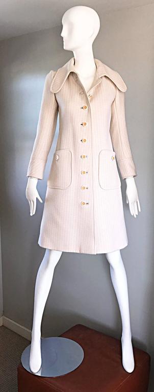 1960s Courreges Haute Couture Rare Vintage Ivory Orange Mod Wool 60s Jacket Coat 4