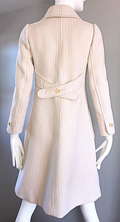 1960s Courreges Haute Couture Rare Vintage Ivory Orange Mod Wool 60s Jacket Coat 5