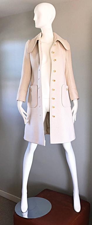 1960s Courreges Haute Couture Rare Vintage Ivory Orange Mod Wool 60s Jacket Coat 6