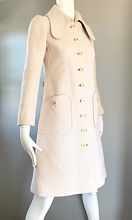 1960s Courreges Haute Couture Rare Vintage Ivory Orange Mod Wool 60s Jacket Coat 7