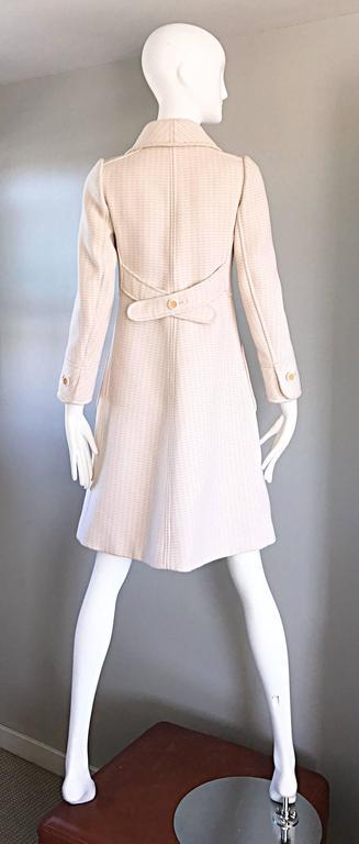 1960s Courreges Haute Couture Rare Vintage Ivory Orange Mod Wool 60s Jacket Coat 8