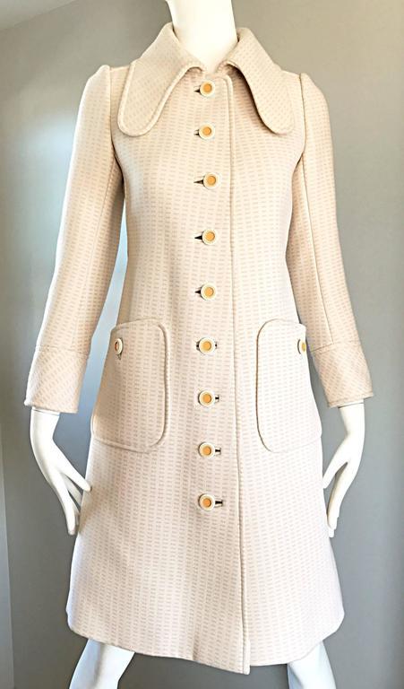 1960s Courreges Haute Couture Rare Vintage Ivory Orange Mod Wool 60s Jacket Coat 9