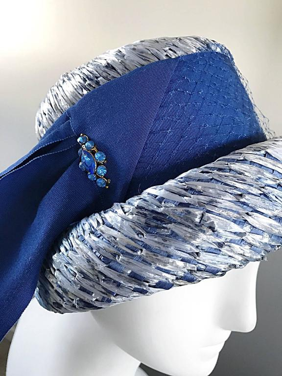 1950s Beresford NWT Deadstock Blue Straw + Silk Ribbon Jewled 50s Vintage Hat  In New Condition For Sale In Chicago, IL