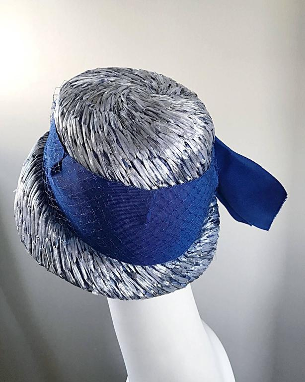 1950s Beresford NWT Deadstock Blue Straw + Silk Ribbon Jewled 50s Vintage Hat  For Sale 1