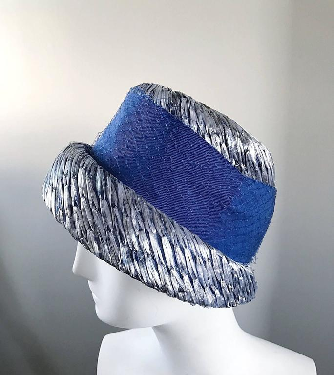 Women's 1950s Beresford NWT Deadstock Blue Straw + Silk Ribbon Jewled 50s Vintage Hat  For Sale