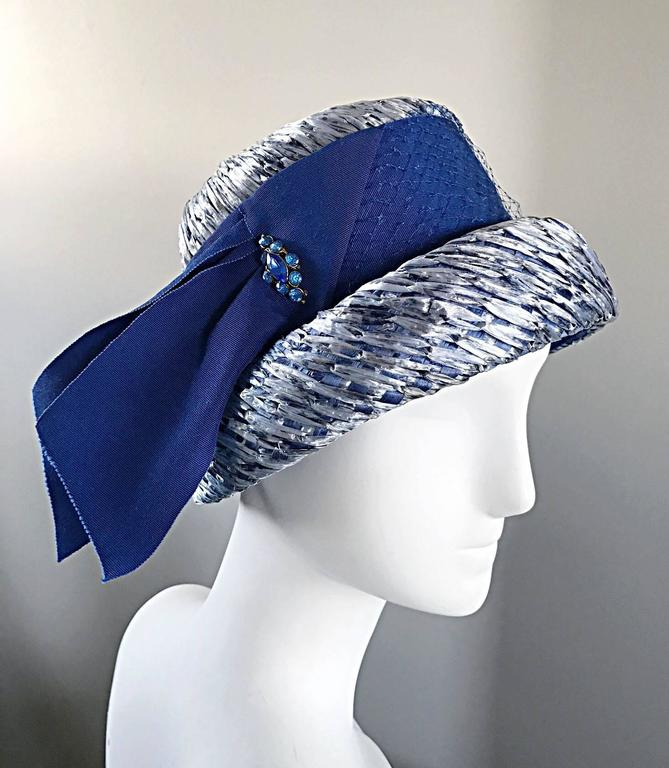 1950s Beresford NWT Deadstock Blue Straw + Silk Ribbon Jewled 50s Vintage Hat  For Sale 2