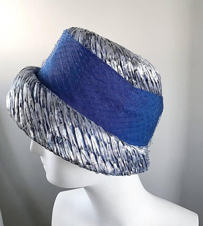 1950s Beresford NWT Deadstock Blue Straw + Silk Ribbon Jewled 50s Vintage Hat  For Sale 3