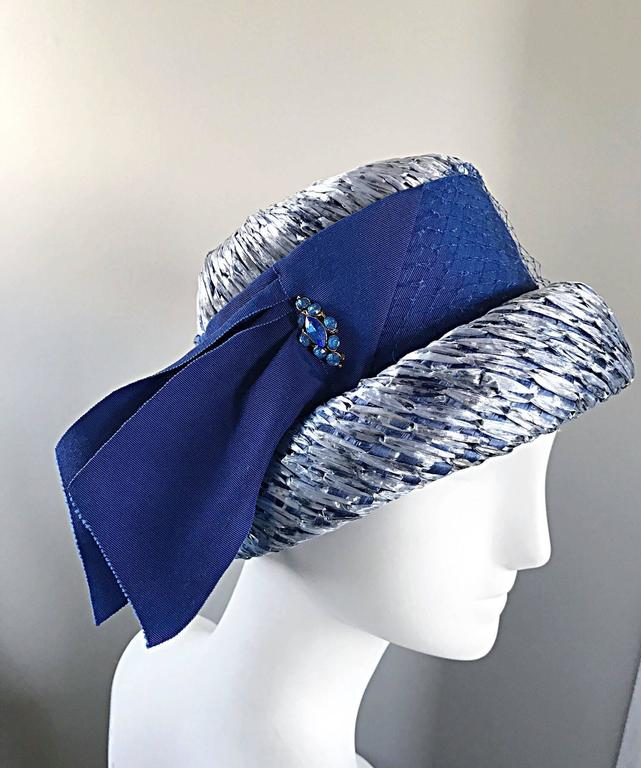 1950s Beresford NWT Deadstock Blue Straw + Silk Ribbon Jewled 50s Vintage Hat  For Sale 5