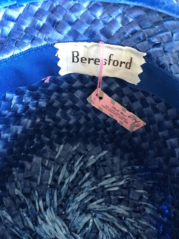 1950s Beresford NWT Deadstock Blue Straw + Silk Ribbon Jewled 50s Vintage Hat  For Sale 6