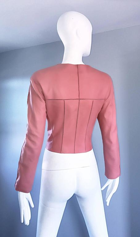 Vintage Chanel Bubblegum Pink Leather Spring Summer 1999 Runway Cropped Jacket In Excellent Condition For Sale In San Francisco, CA