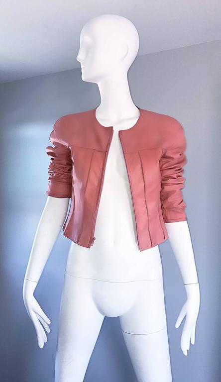 Vintage Chanel Bubblegum Pink Leather Spring Summer 1999 Runway Cropped Jacket 5