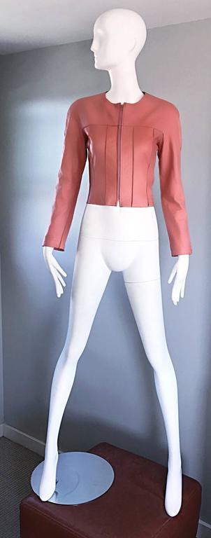 Vintage Chanel Bubblegum Pink Leather Spring Summer 1999 Runway Cropped Jacket 6