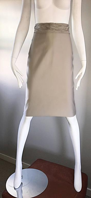 Prada Vintage 1990s Runway Khaki High Waisted 90s Fitted Pencil Skirt  In Excellent Condition For Sale In Chicago, IL
