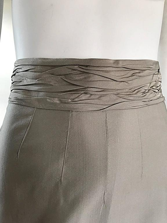 Gray Prada Vintage 1990s Runway Khaki High Waisted 90s Fitted Pencil Skirt  For Sale