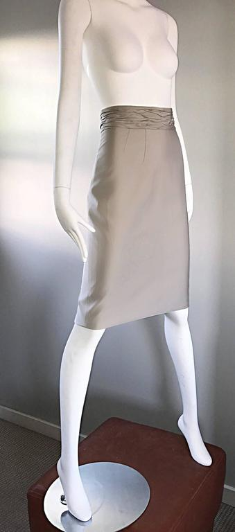 Women's Prada Vintage 1990s Runway Khaki High Waisted 90s Fitted Pencil Skirt  For Sale