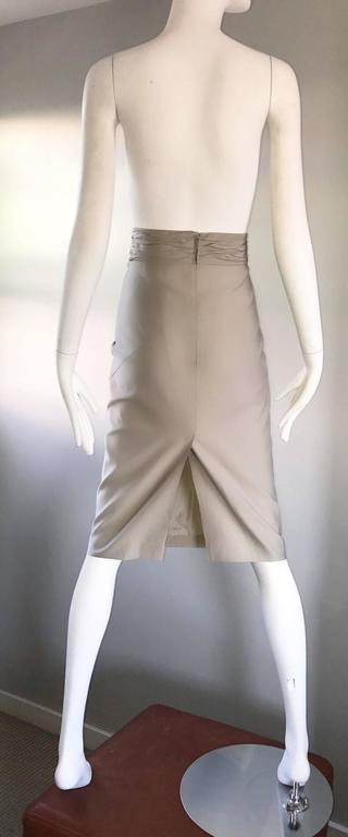 Prada Vintage 1990s Runway Khaki High Waisted 90s Fitted Pencil Skirt  For Sale 1