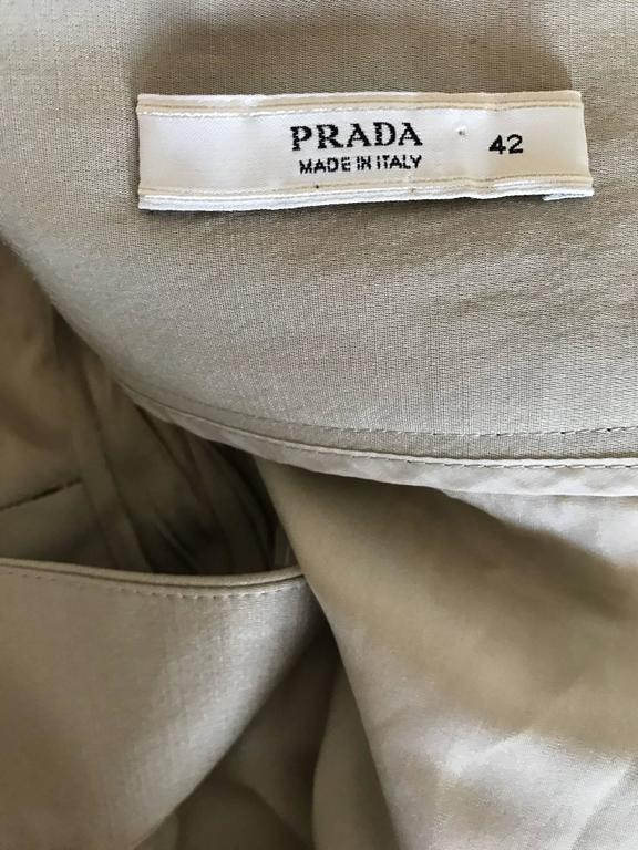 Prada Vintage 1990s Runway Khaki High Waisted 90s Fitted Pencil Skirt  For Sale 4