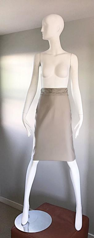 Prada Vintage 1990s Runway Khaki High Waisted 90s Fitted Pencil Skirt  For Sale 3