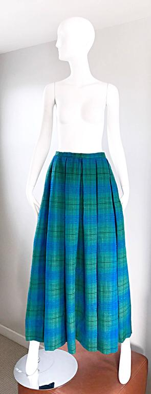 1950s Henri Bendel Blue and Green Chic Vintage 50s Virgin Wool Full Maxi Skirt  2