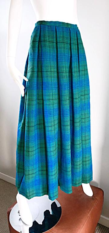 1950s Henri Bendel Blue and Green Chic Vintage 50s Virgin Wool Full Maxi Skirt  3