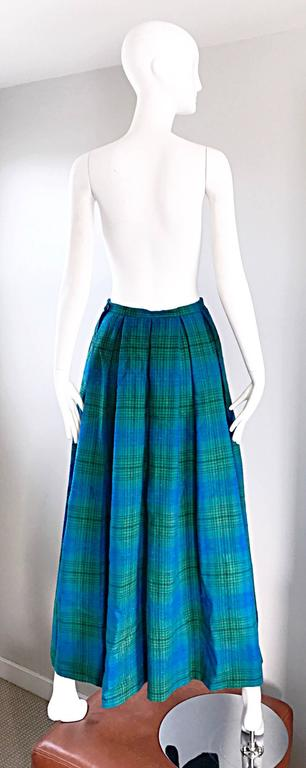 1950s Henri Bendel Blue and Green Chic Vintage 50s Virgin Wool Full Maxi Skirt  4
