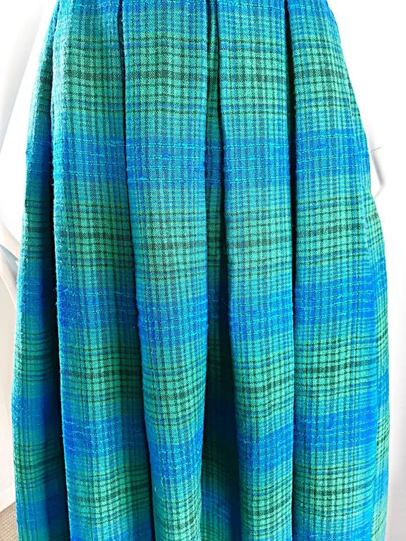 1950s Henri Bendel Blue and Green Chic Vintage 50s Virgin Wool Full Maxi Skirt  5