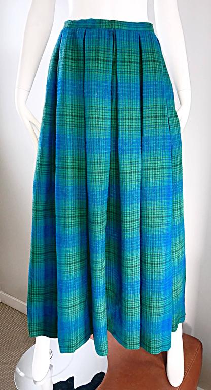 1950s Henri Bendel Blue and Green Chic Vintage 50s Virgin Wool Full Maxi Skirt  6