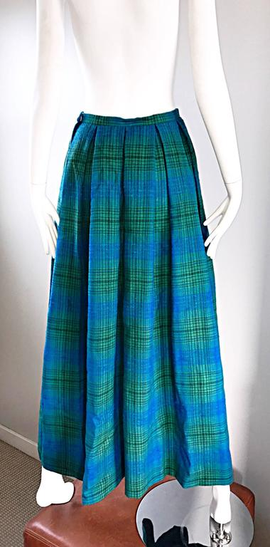 1950s Henri Bendel Blue and Green Chic Vintage 50s Virgin Wool Full Maxi Skirt  8