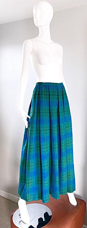 1950s Henri Bendel Blue and Green Chic Vintage 50s Virgin Wool Full Maxi Skirt  7