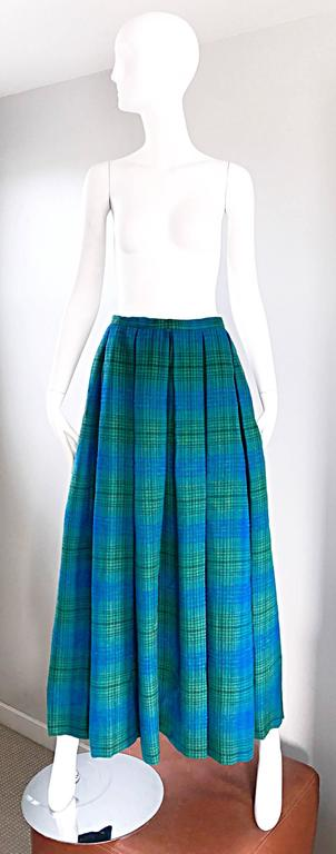 1950s Henri Bendel Blue and Green Chic Vintage 50s Virgin Wool Full Maxi Skirt  9