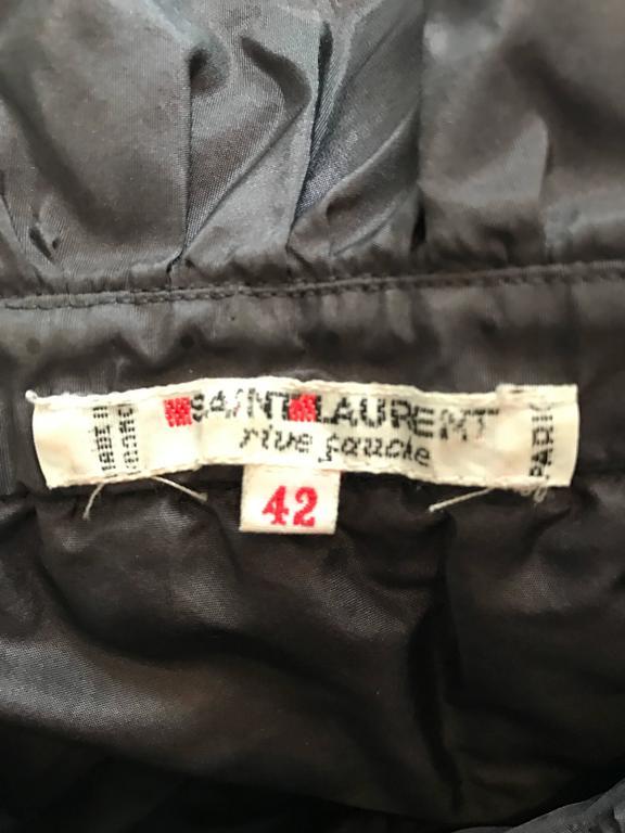 Rare Yves Saint Laurent Russian Collection 1970s Black Silk Taffeta Blouse 1976  For Sale 6