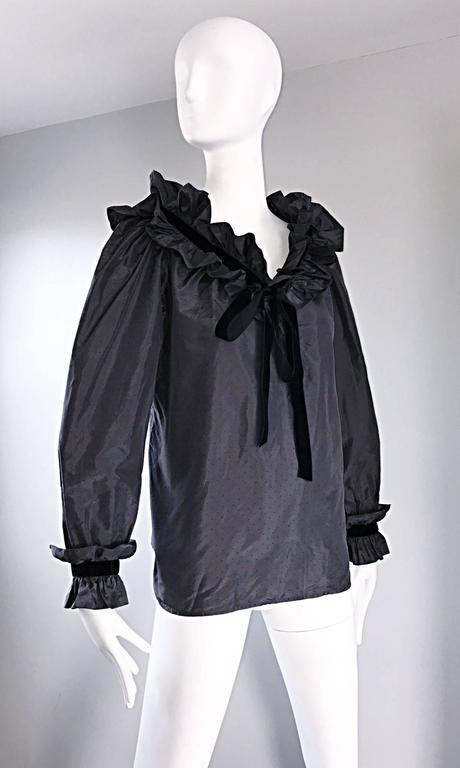 Rare Yves Saint Laurent Russian Collection 1970s Black Silk Taffeta Blouse 1976  In Excellent Condition For Sale In San Francisco, CA