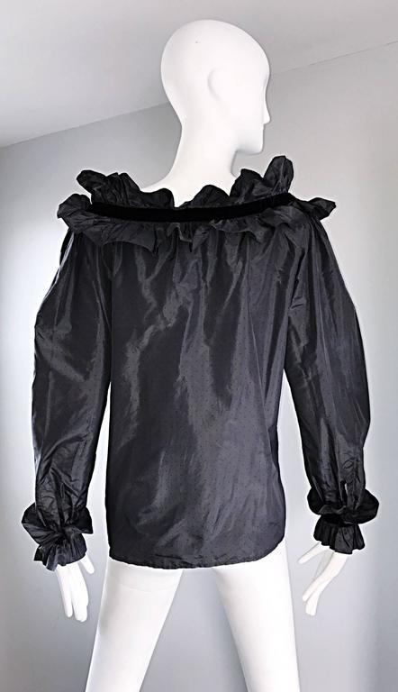 Women's Rare Yves Saint Laurent Russian Collection 1970s Black Silk Taffeta Blouse 1976  For Sale