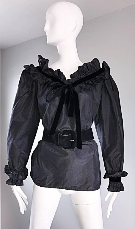 Rare Yves Saint Laurent Russian Collection 1970s Black Silk Taffeta Blouse 1976  For Sale 1