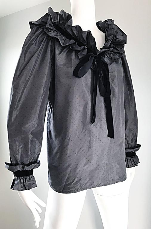 Rare Yves Saint Laurent Russian Collection 1970s Black Silk Taffeta Blouse 1976  For Sale 2