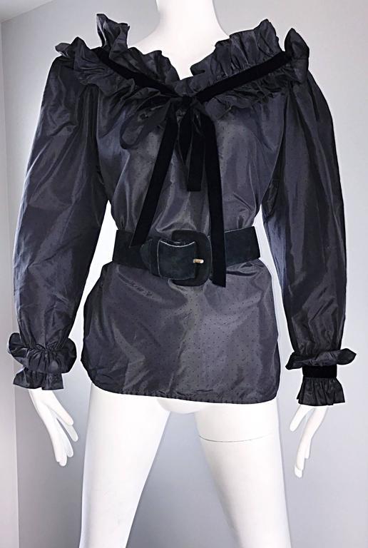 Rare Yves Saint Laurent Russian Collection 1970s Black Silk Taffeta Blouse 1976  For Sale 3