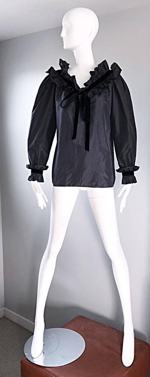 Rare Yves Saint Laurent Russian Collection 1970s Black Silk Taffeta Blouse 1976  For Sale 4