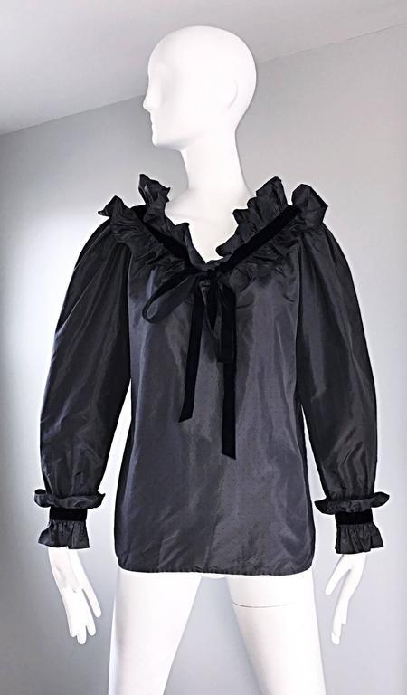 Rare Yves Saint Laurent Russian Collection 1970s Black Silk Taffeta Blouse 1976  For Sale 5