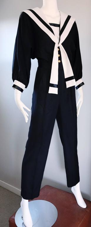 Women's Rare Vintage Andree Gaye Nautical Black and White 1990s 90s Sailor Jumpsuit  For Sale