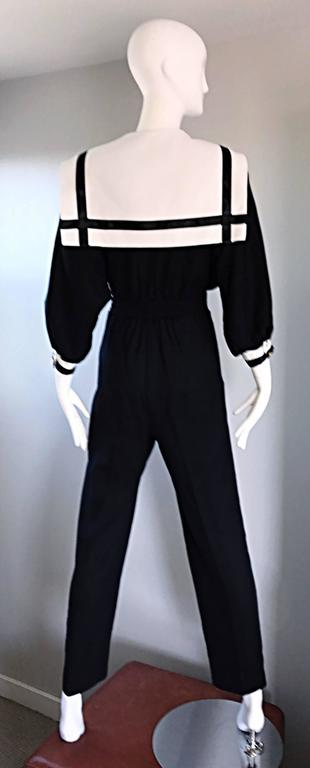 Rare Vintage Andree Gaye Nautical Black and White 1990s 90s Sailor Jumpsuit  For Sale 3