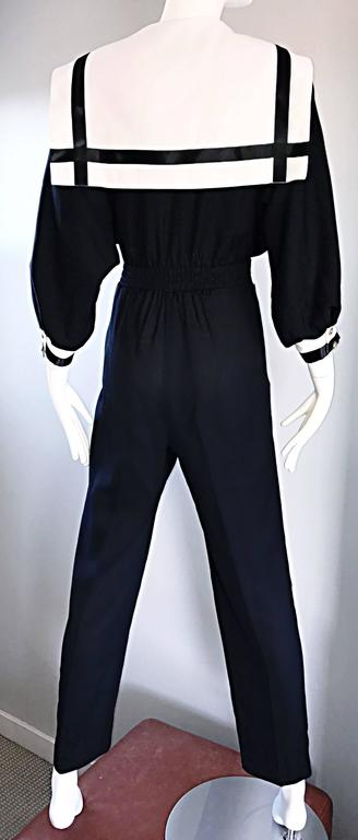 Rare Vintage Andree Gaye Nautical Black and White 1990s 90s Sailor Jumpsuit  For Sale 1